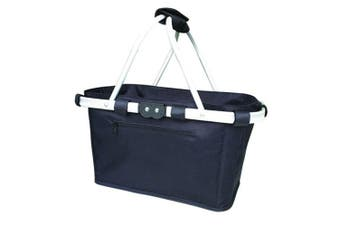 Sachi Two Handle Foldable Carry Basket Reusable Shopping Bag w  Handles Black