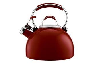 Essteele 1.9L Porcelain Enamel Whistling Kettle Red for All Stove Top Induction