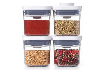 4pc Oxo Good Grips POP Plastic Container 2.0 Mini Set Food Storage w  Lid Clear