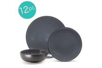 12pc Salt & Pepper Shuko Stoneware Dinner Set Plate Bowl Dishwasher Microwave BL