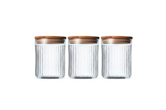 3PK Salt & Pepper 13cm Brew Crinkle Glass Canisters Food Storage Jar Containers