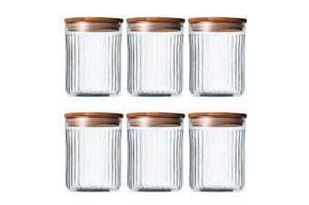 2x 3PK Salt & Pepper 13cm Brew Crinkle Glass Canister Food Storage Jar Container