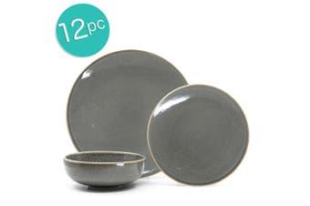 12pc Salt & Pepper Minerale Stoneware Dinner Set Plate Bowl Dishwasher safe TP