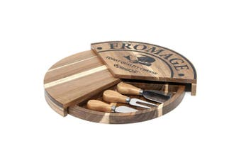 Salt & Pepper 32cm Fromage Pivot Acacia Wood Cheese Cutting Board w  Knives BRN