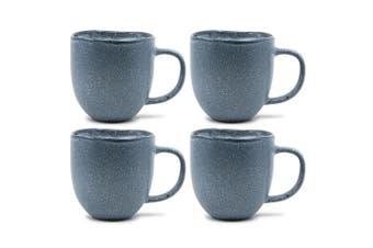 4pc Salt & Pepper Arch Mug Stoneware 380ml Drink Coffee Tea Drinking Cup Blue