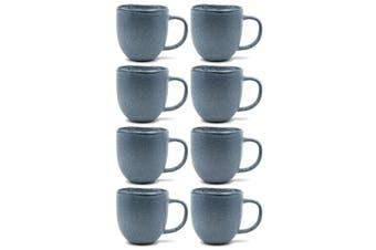 8pc Salt & Pepper Arch Mug Stoneware 380ml Drink Coffee Tea Drinking Cup Blue