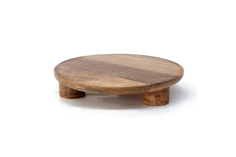 S&P Vault 30 x 6.5 cm Round Footed Serving Cheese Board Stand Natural Mango Wood