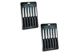 12pc Scanpan Spectrum Steak Knives Stainless Steel Knife Set Kitchen Cutlery BLK