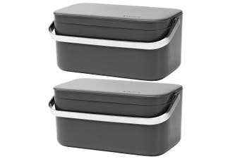 2x Brabantia Food Waste Caddy Kitchen Compost Bucket Rubbish Garbage Bin D Grey