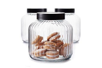 3pc Salt & Pepper 3L Glass Brew Canisters Container Storage Food Holder Clear