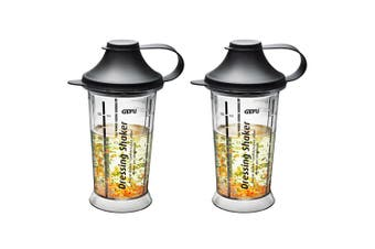 2x Gefu Mix Up Salad Dressing Shaker Kitchen Food Measuring Bottle Cup Clear BLK