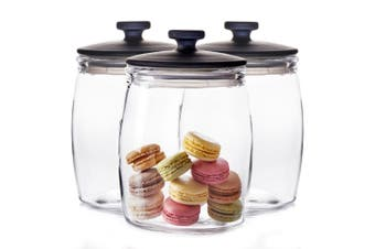 3pc Salt & Pepper Beacon 46cm Glass Canisters Container Storage Holder Clear