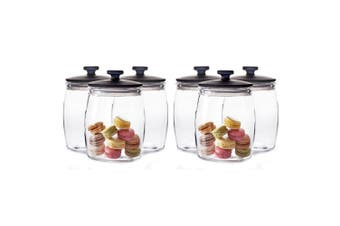 6pc Salt & Pepper Beacon 46cm Glass Canisters Container Storage Holder Clear