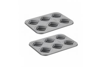 2x Cake Boss 6 Cup Stacked Non Stick Square Cakelette Pan Mold Oven Baking Tin