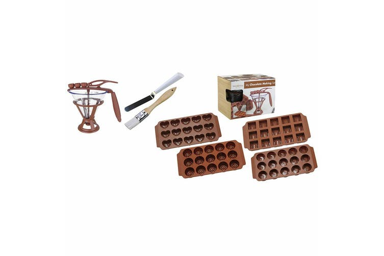 Daudignac My Chocolate Making Set w  Silicone Moulds Brush Spatula Recipe Books