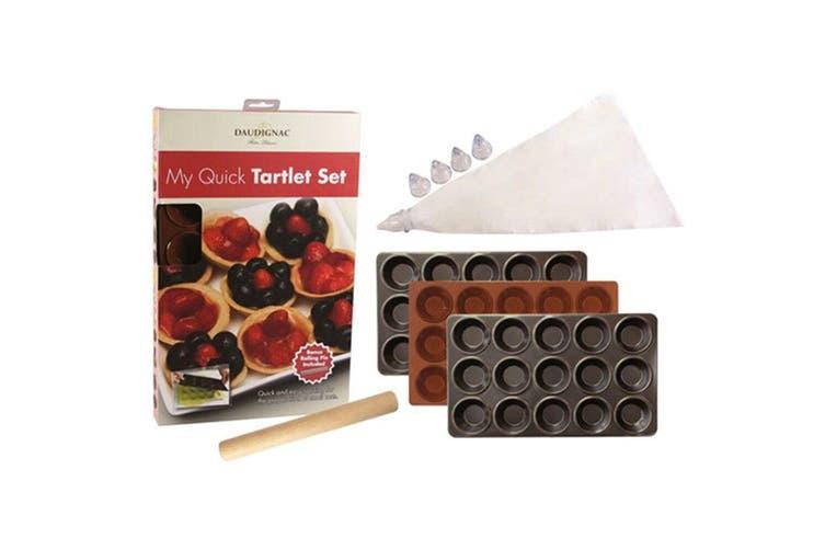 Daudignac My Quick Tartlet Tart Baking Tray Silicone Mould w Cake Icing Bag Set