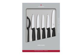 6pc Victorinox Swiss Classic 8 11cm Straight & Serrated Paring Knife Set Black