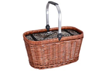 Avanti Insulated Carry Willow Picnic Basket Outdoor Camping Storage Leopard BR