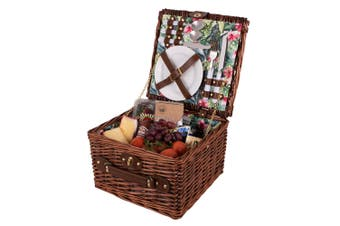 Avanti 2 Person Outdoor Picnic Basket Storage w  Cutlery Plate Tropical Hibiscus
