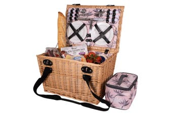 Avanti 4 Person Outdoor Picnic Basket w  Handles Insulated Bag Birds of Paradise