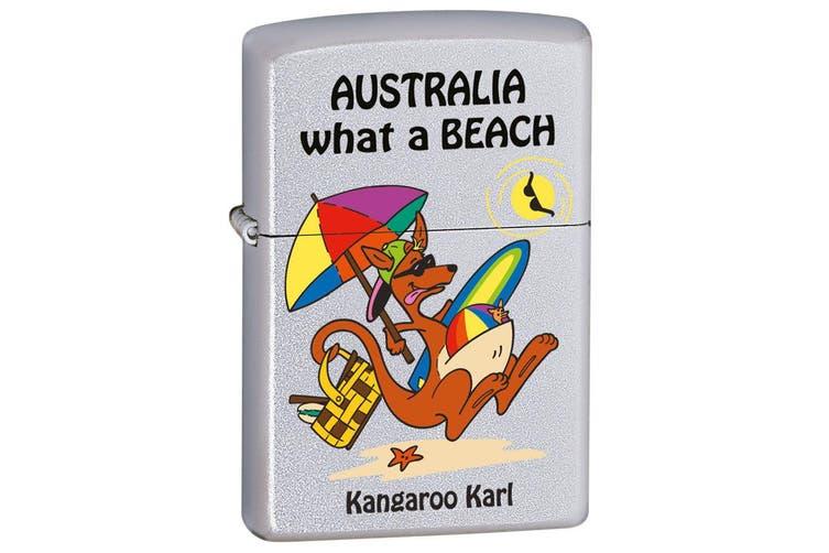 Zippo Kangaroo Karl Beach Genuine Satin Chrome Finish Cigar Cigarette Lighter