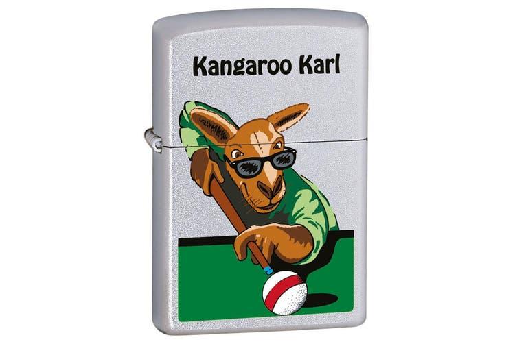 Zippo Kangaroo Karl Pool Genuine Satin Chrome Finish Cigar Cigarette Lighter