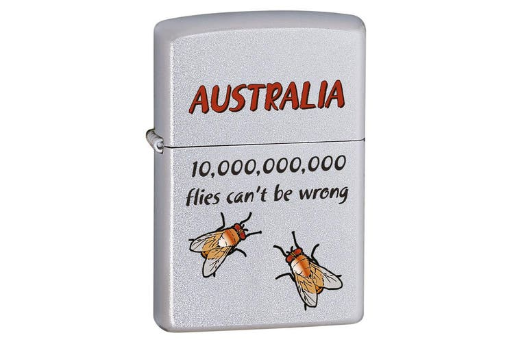 Zippo Australia Bush Flies Genuine Satin Chrome Finish Cigar Cigarette Lighter