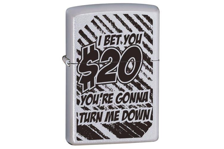 Zippo I Bet You $20 Genuine Satin Chrome Finish Cigar Cigarette Lighter