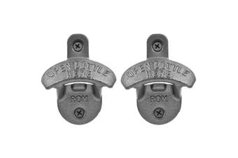 2x Bartender Wall Mounted Cast Iron Beer Cap Bottle Open Opener Barware w Screws