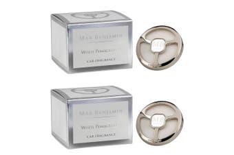 2x Max Benjamin Scented Fragrance Car Air Vent Clip Freshener White Pomegranate