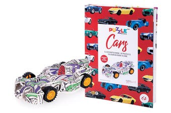 Is Gifts Kids Illustrated Colouring Book w 24cm 3D Puzzle Felt Pens Cars 8y+