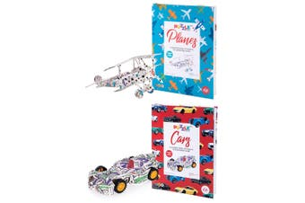 2PK Is Gifts Kids Illustrated Colouring Book Planes & Cars 3D Puzzle Set 8y+