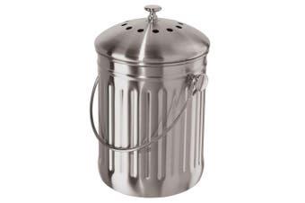 Oggi 3.8L Stainless Steel Kitchen Compost Food Waste Rubbish Trash Bin Pail SL