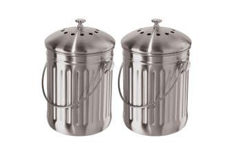 2PK Oggi 3.8L Stainless Steel Kitchen Compost Food Waste Rubbish Trash Bin Pail