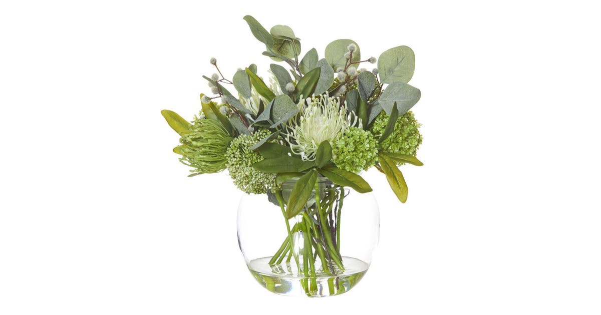 Rouge 34cm Native Mix Artificial Flower Home Decor Indoor Plant W Glass Bowl Kogan Com