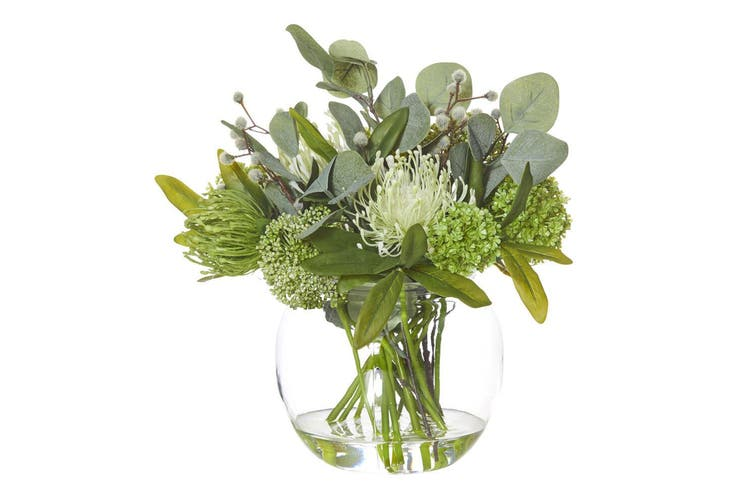 Rouge 34cm Native Mix Artificial Flower Home Decor Indoor Plant w  Glass Bowl