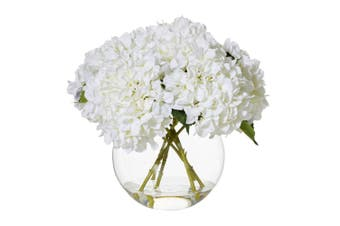 Rouge 48cm Hydrangea Sphere Artificial Flower Decor Indoor Plant w  Vase White