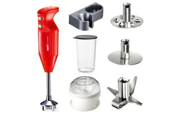 Bamix Mono 140W Red Hand Stick Blender & Wet Dry Food Processor Accessory Set
