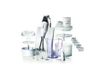 Bamix Superbox 200W Electric Hand Blender Mixer w Jug Stand SliceSy Processor WH