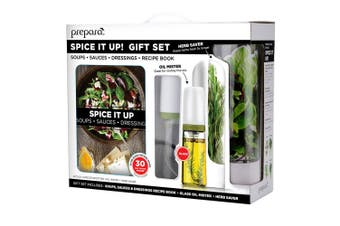 Prepara Spice It Up Healthy Cook Gift Set w  Recipe Book Oil Mister Herb Saver