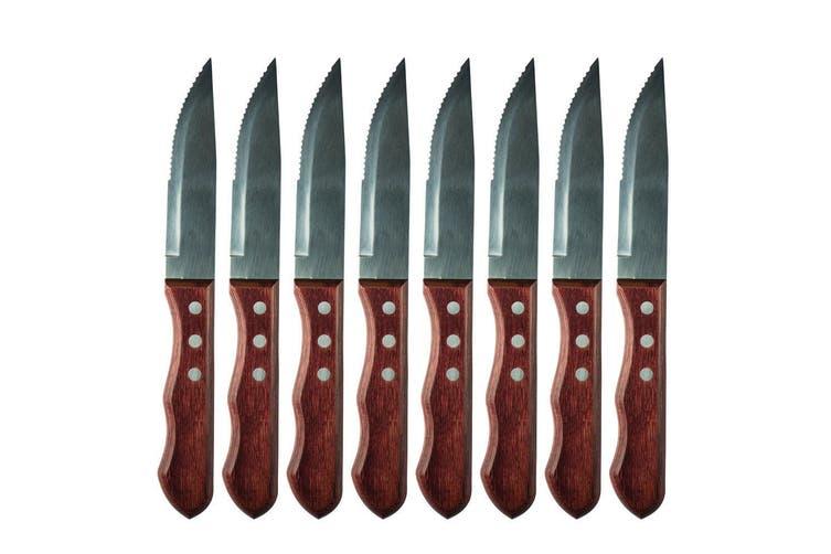 8pc Avanti Jumbo Steak Knife Set Serrated Stainless Steel Kitchen Dining Cutlery