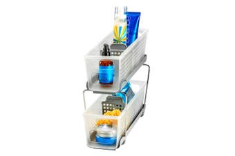 Madesmart 2 Tier Bath Shower Bathroom Holder Rack Stand Shelf Organiser Grey