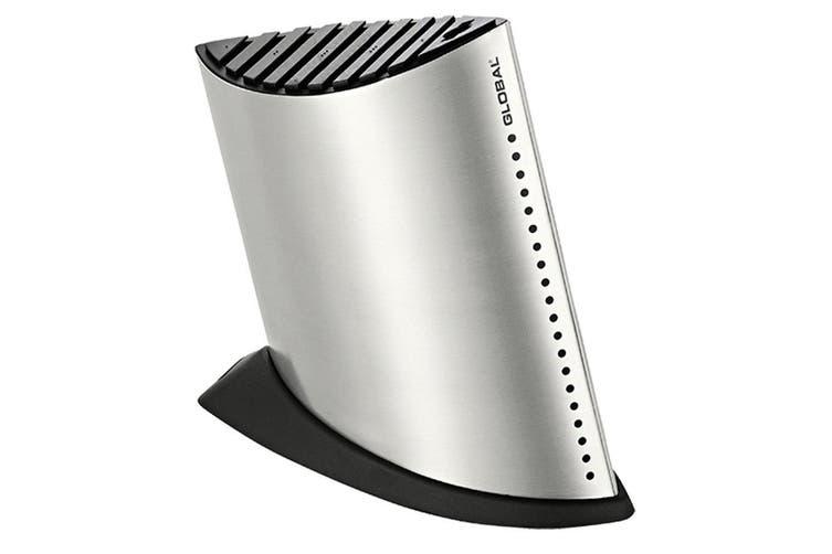 Global Silver Ship Shape Knife Block 9 Slots for Knives 24cm Stainless Steel