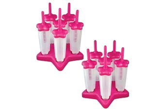 12pc Tovolo Star Ice Pop Mold Homemade Popsicle Ice Cream Maker w  Base Pink
