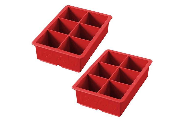 2x Tovolo King Jumbo Ice Cube Silicone Tray BPA Free Dishwasher Safe Candy Apple