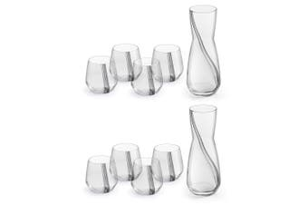10pc Royal Leerdam Eleve 1L Decanter 370ml Tumblers Drinking Glass Cup Set Clear