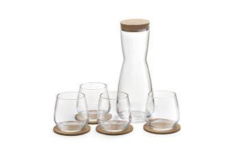 10pc Royal Leerdam Debonair Carafe Coaters Tumblers Glass Drinkware Glasses Set
