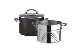 Anolon Endurance+ 24cm 7.6L Stockpot Kitchen Soup Pot w  Pasta Insert Lid Black