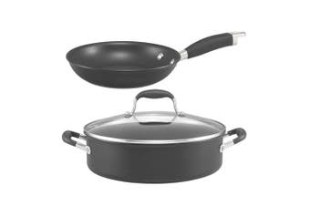 2pc Anolon 28cm Sauteuse 22cm Open French Skillet Pan Gas Induction Cookware Set