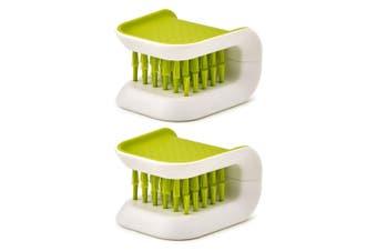 2PK Joseph Joseph Blade Brush Knife Cutlery Cleaner Kitchen Cleaning Scrub Green